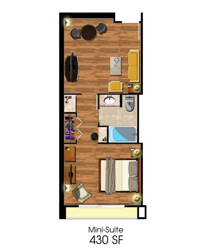 Junior Suite Floorplan at Avenue of the Arts Costa Mesa