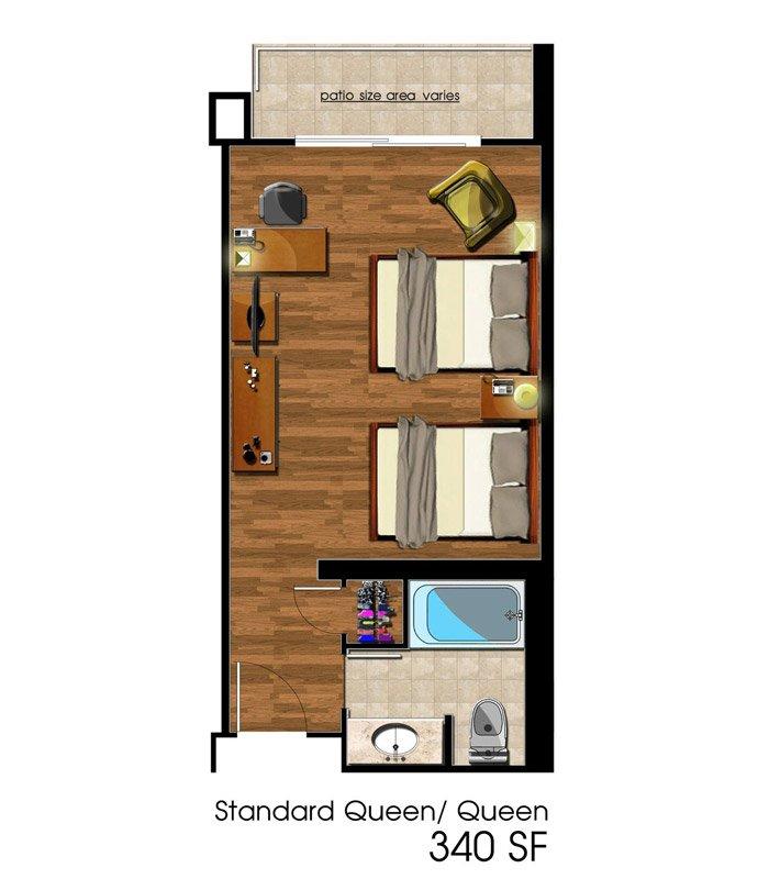 Deluxe Queen Room Floorplan at Avenue of the Arts Costa Mesa