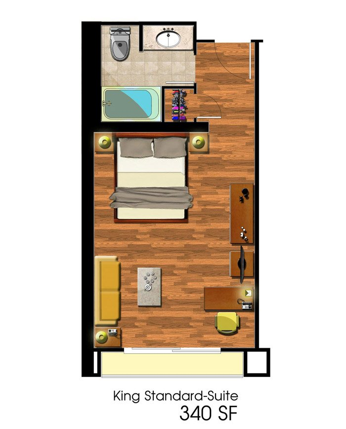 Deluxe King Room Floorplan at Avenue of the Arts Costa Mesa