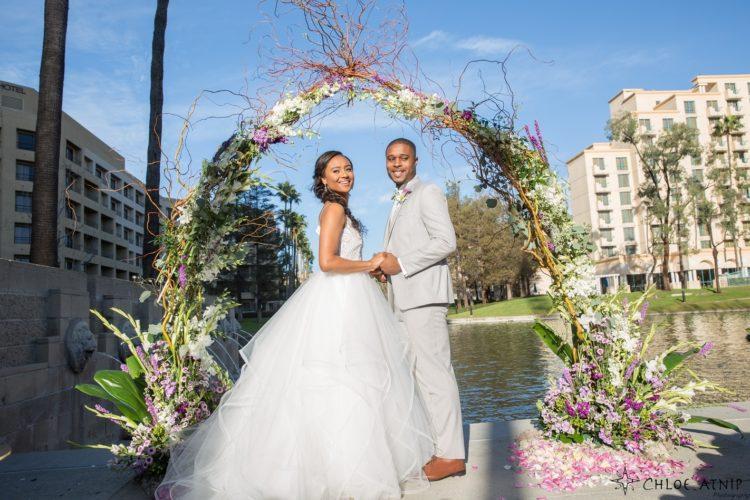 bride standing beside groom