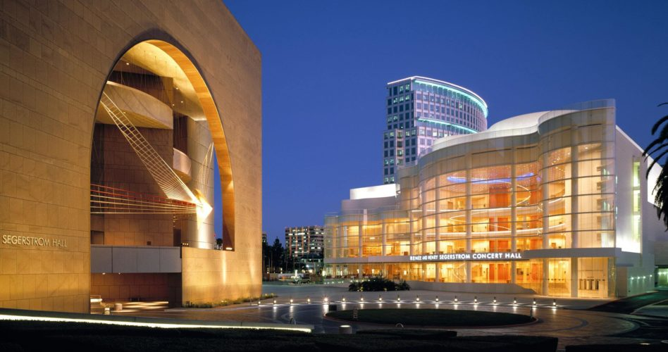 Concert hall exterior at night