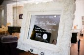 Bridal Affair Showcase printed paper in white wooden frame inside room