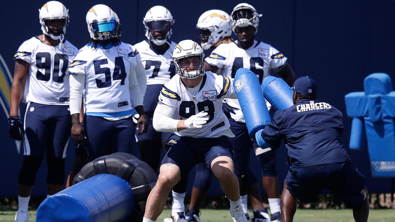group of chargers football players practicing