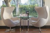 two white swivel chairs