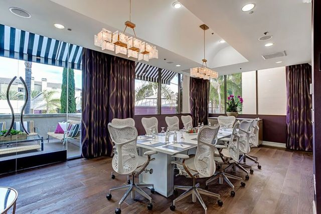 Boardroom with large table and chairs