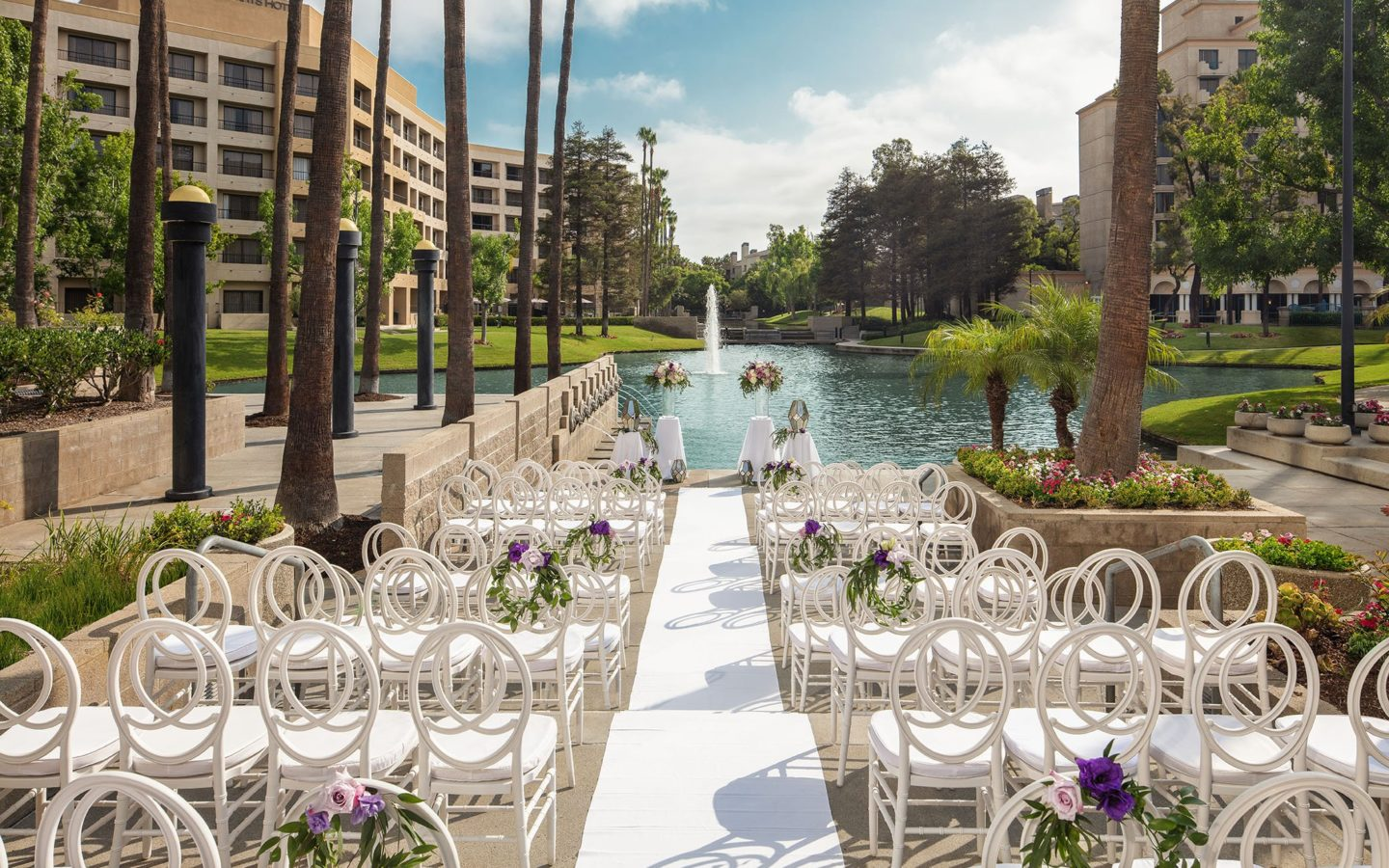 Chairs setup for wedding in front of lake