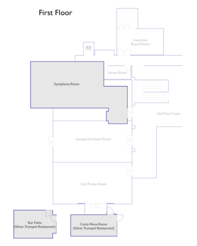 Floorplan diagram for event spaces on the first floor of the Avenue of the Arts hotel