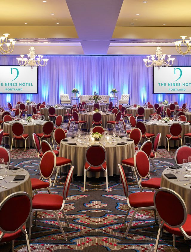 interior of ballroom with banquet setup