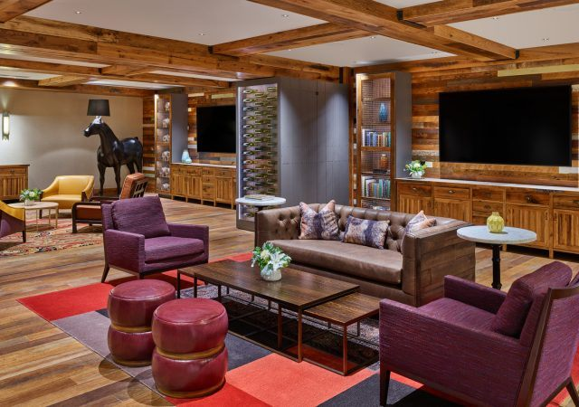 the barrel room lounge space at the nines hotel