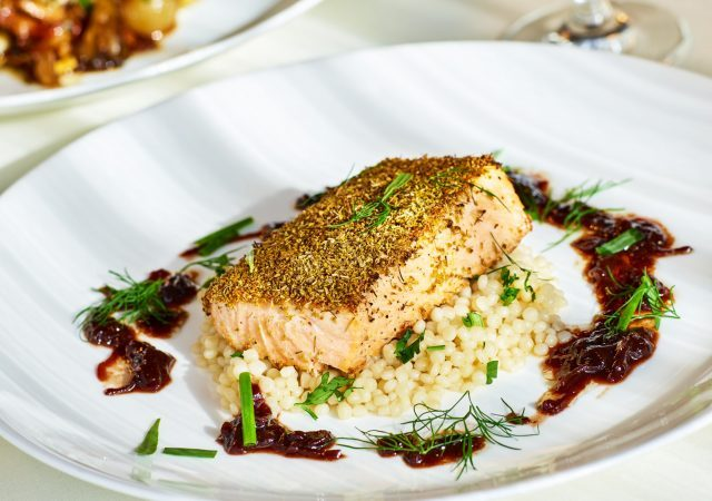 crusted salmon dish at the nines hotel restaurant