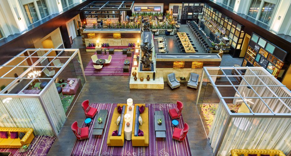 birds eye view of the atrium space at the nines hotel