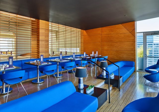 lounge area with flexible seating options at the nines hotel