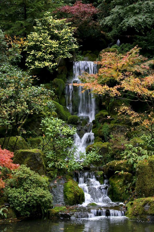waterfall at the portland japanese gardens