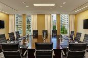 meier boardroom meeting space with views of the city of portland