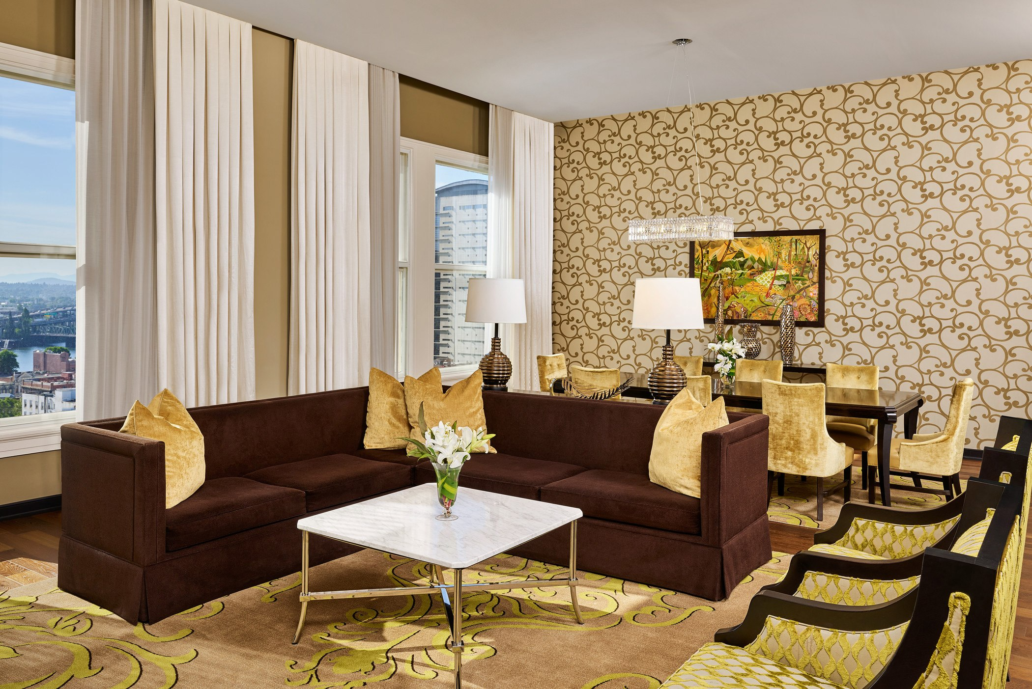 living space in a suite at the nines luxury hotel