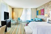 art filled contemporary hotel studio suite