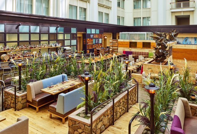 overhead look at the atrium and urban farmer restaurant
