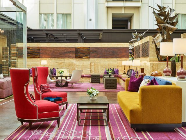 modern furniture and design fills the nines hotel atrium