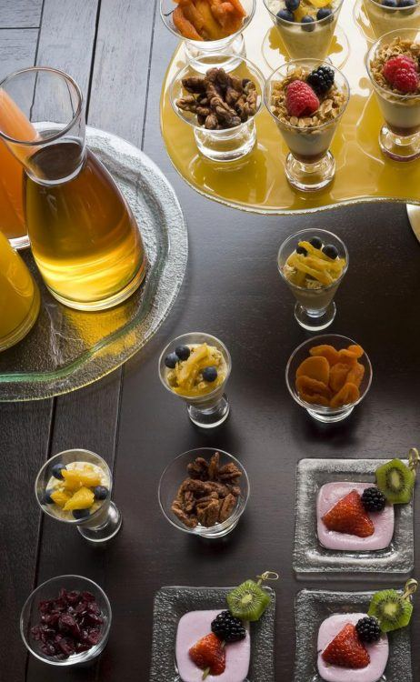 selection of food and juices available at the nines hotel