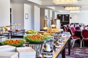 buffet setup for a meeting at the nines hotel
