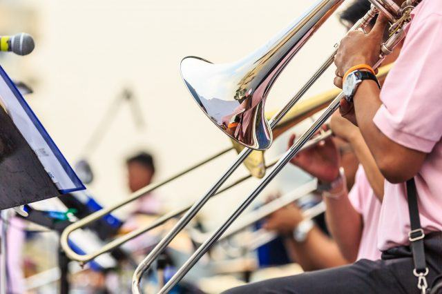 brass trombone plays music at the portland jazz festival