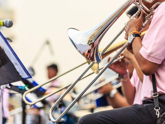 brass trombone plays music at the portland jazz festival