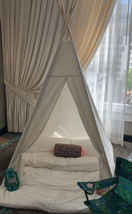 Children's luxury teepee tent set up in hotel room
