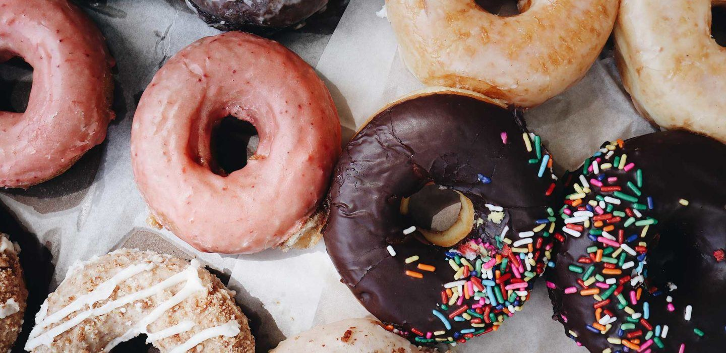 overhead view of various types of doughnuts