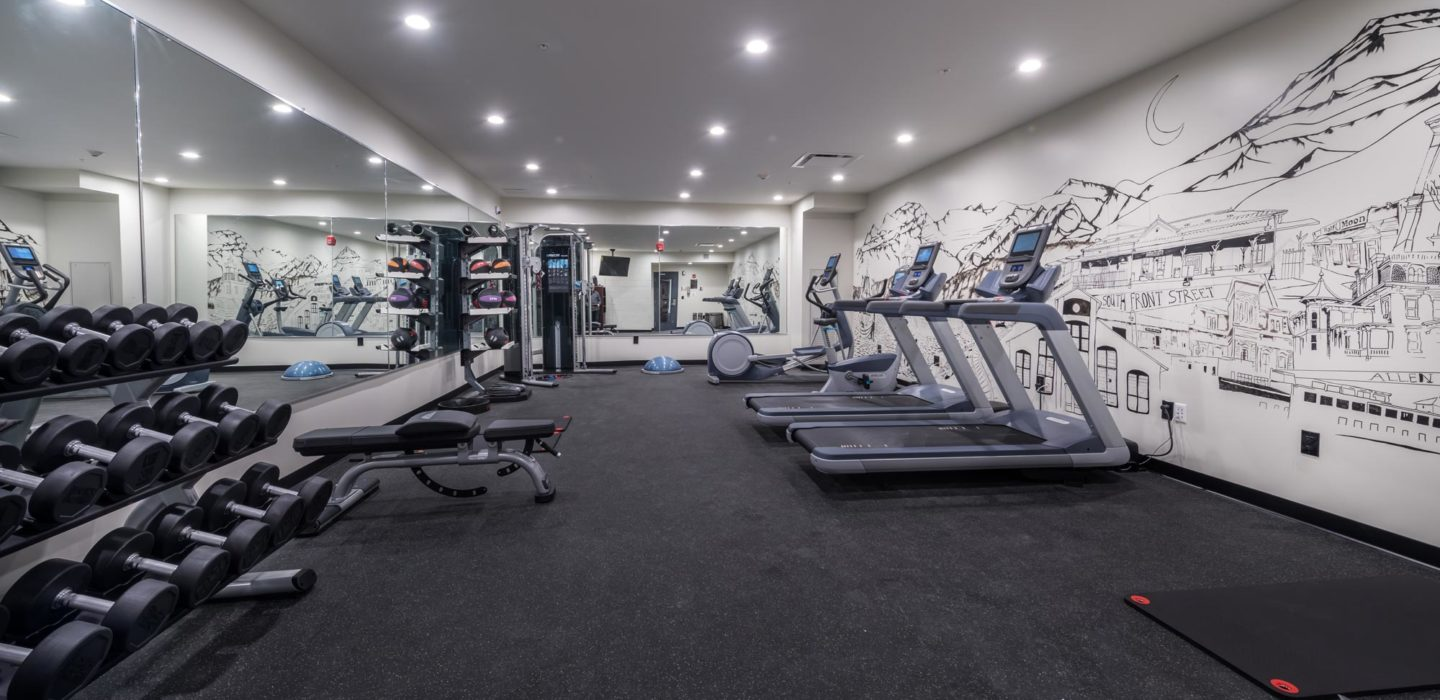 modern fitness center with weight rack treadmills and black and white wall mural