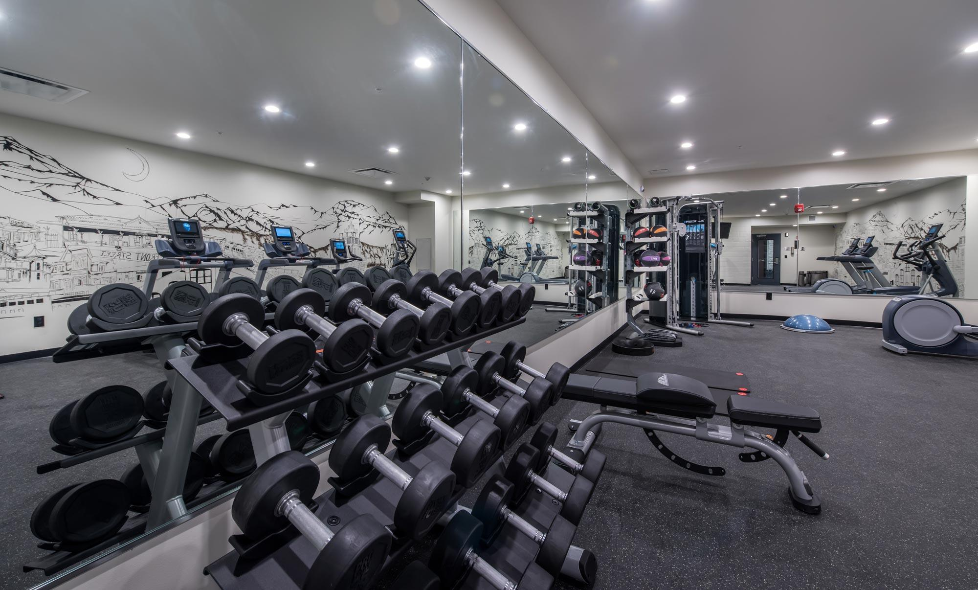 weight rack sitting against mirrored wall of modern fitness center