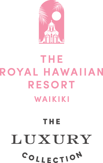 The Royal Hawaiian Resort, Waikiki. The Luxury Collection logo in pink and grey
