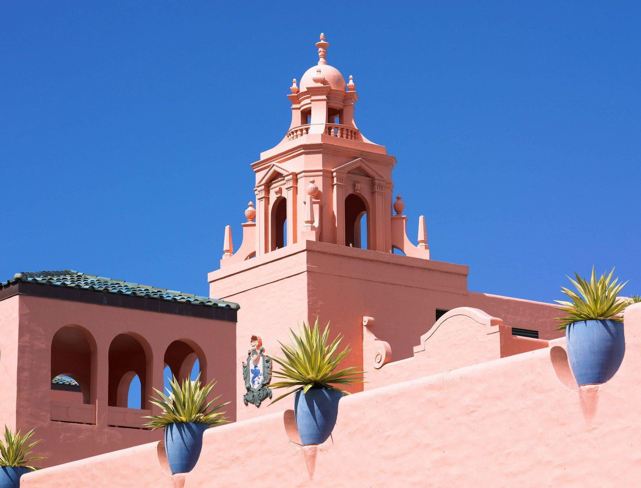 a close up shot of property in pink painted wall and plants sparsely in a bright day