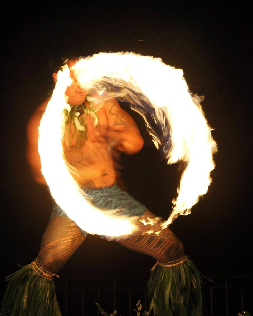 man doing fire dance