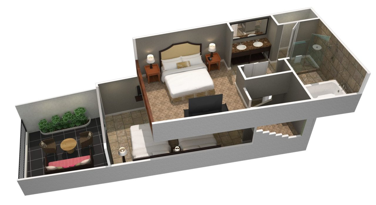 3D render of two story suite