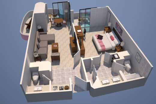 3D render of Mailani Tower Ocean layout Suite