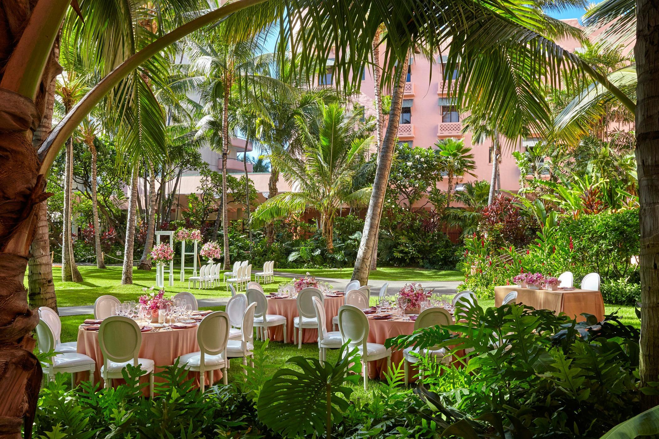 tables setup for garden dining event in royal hawaiian garden