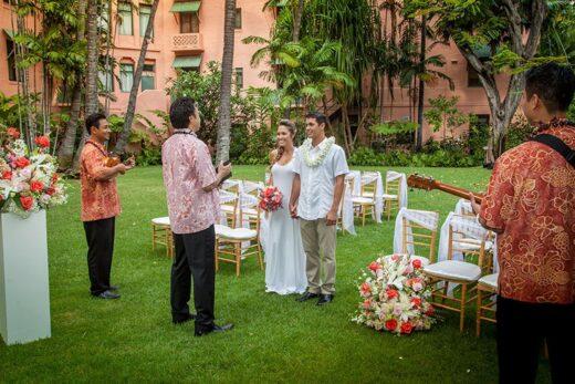 Couple getting married at royal hawaiian hotel