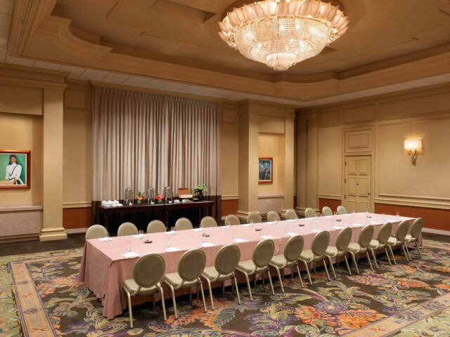 rectangular white conference table and chairs set