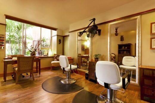 two white salon chairs