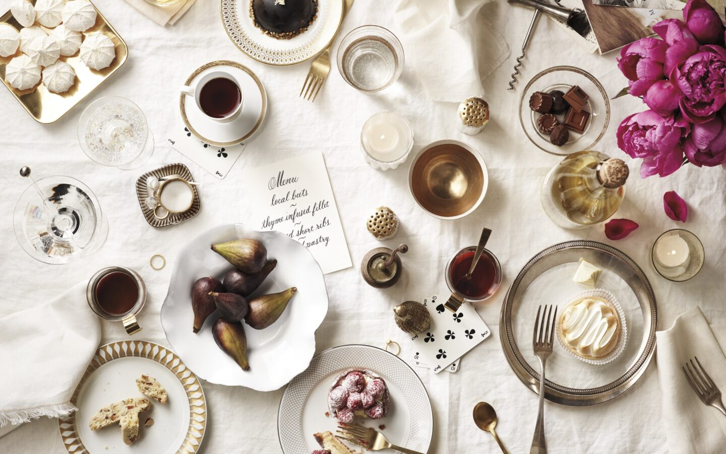 table with dinner party items