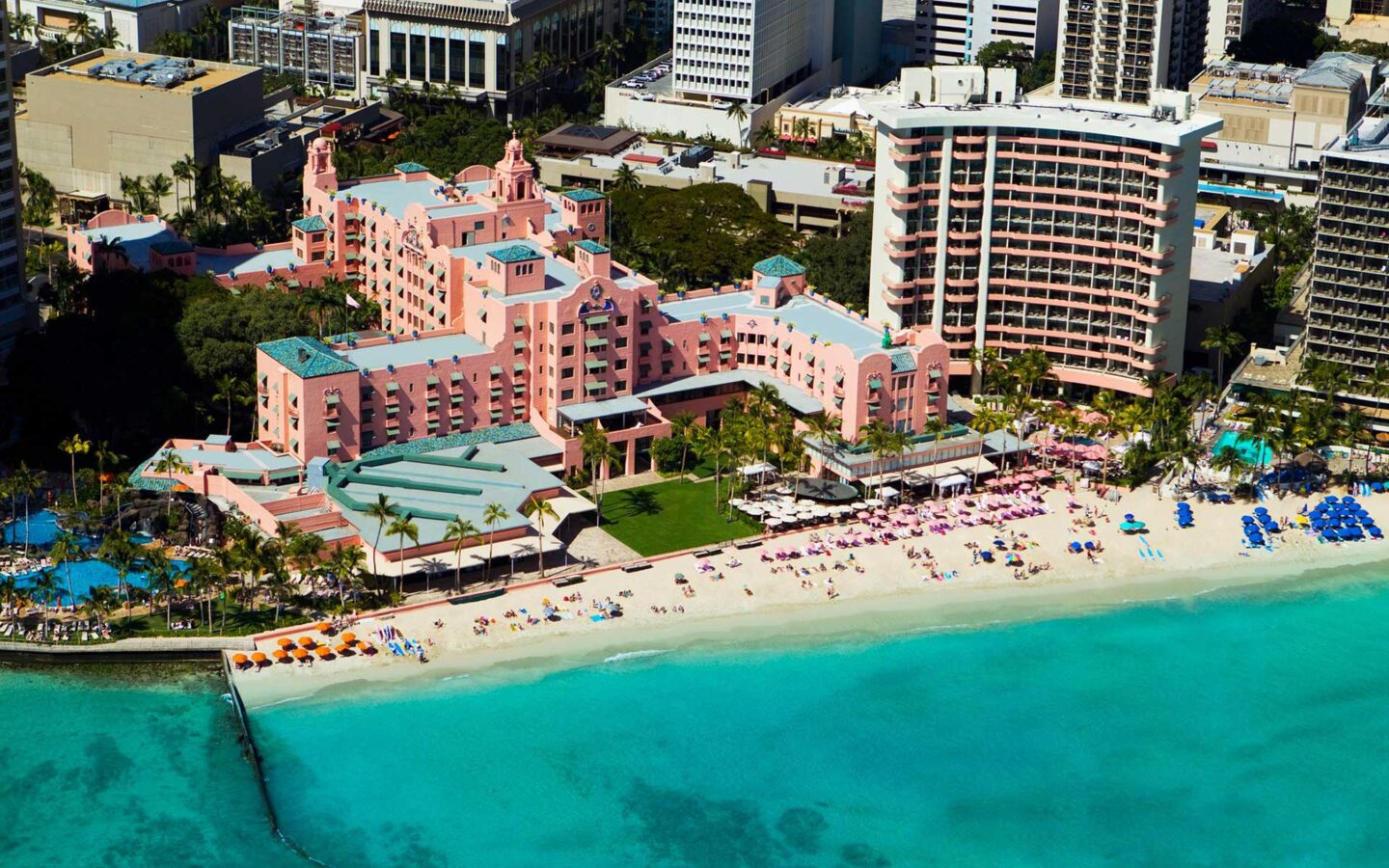 aerial photo of seashore near The Royal Hawaiian during daytime