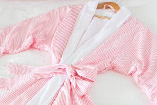 pink and white striped bath robe