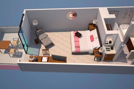 3D render of floor plan