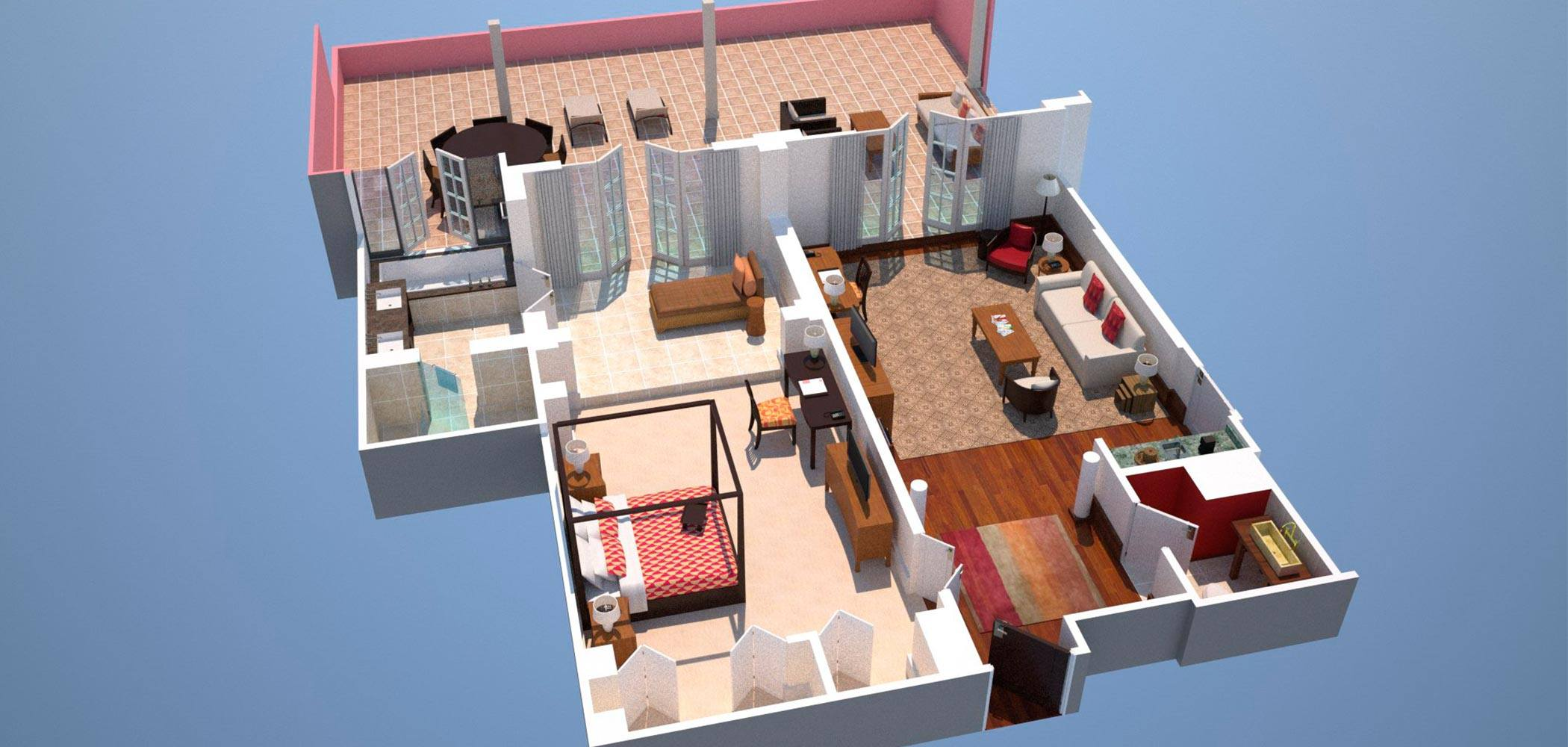 3D render of Suite floor plan