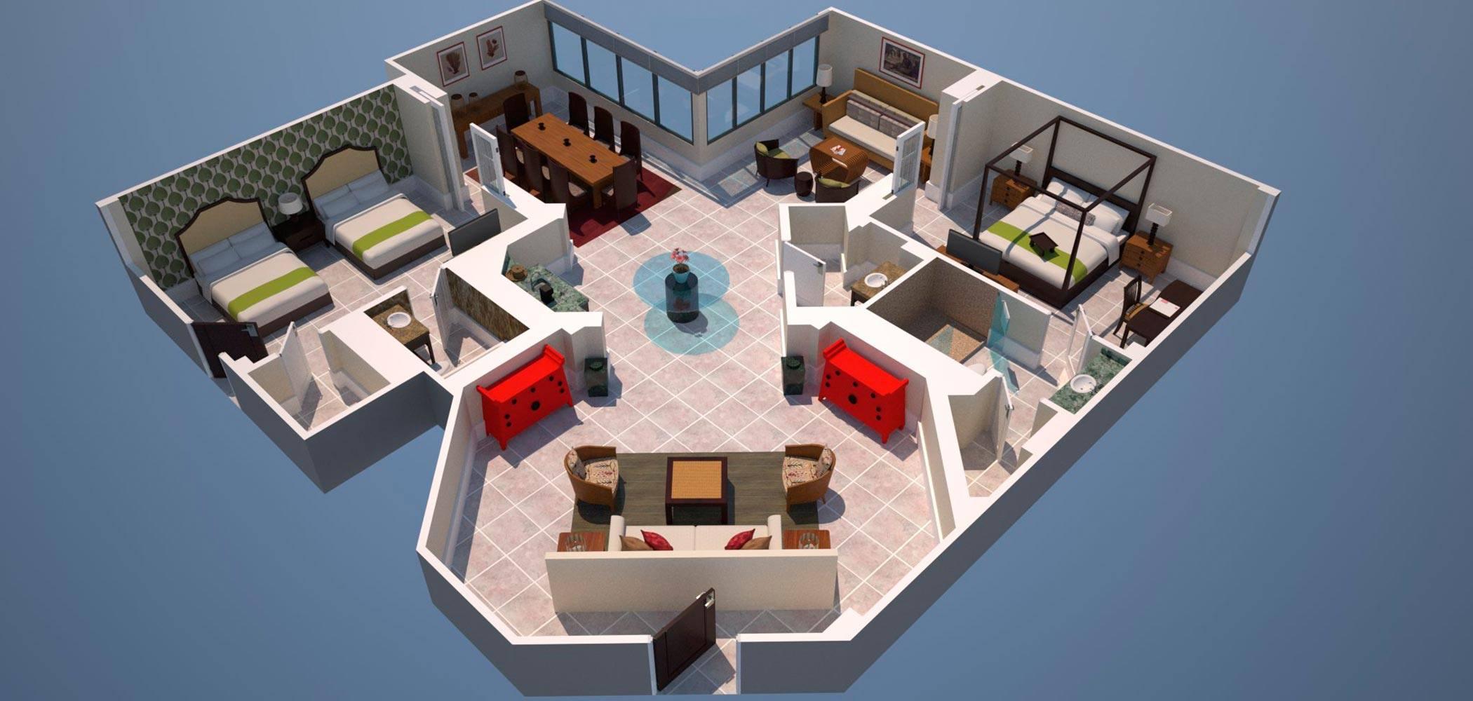 3D render of floor plan for suite