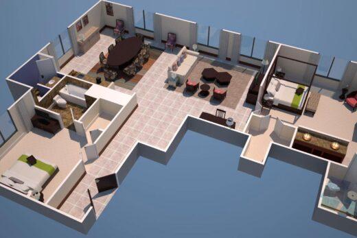 3D render of Suite floor plan