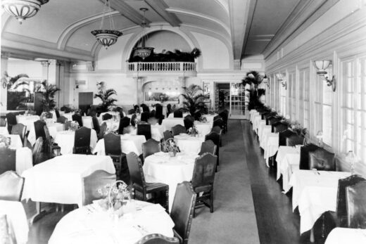 grayscale photo of reception hall