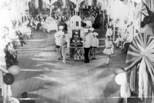 Historic photo of celebration in ballroom