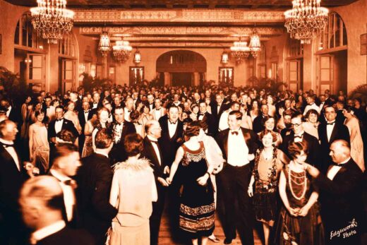 Ballroom full of people dancing