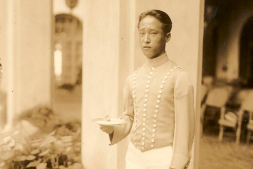 sepia colored picture of a waiter